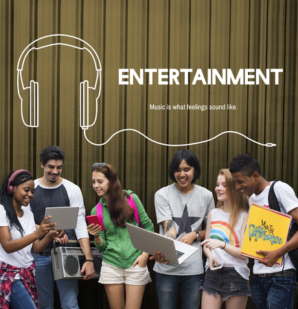 group of young adults: Listening to music headphones graphic