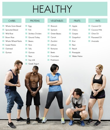 Young and fit people with healthy diet concept