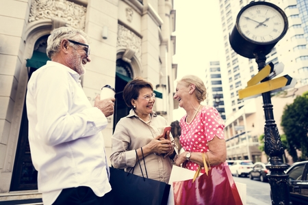 Senior Adult Shopping Friendship Lifestyle Stock Photo