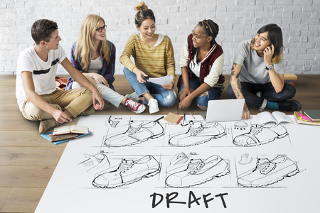asian man laptop: Shoe production procedure sketch drawing Stock Photo