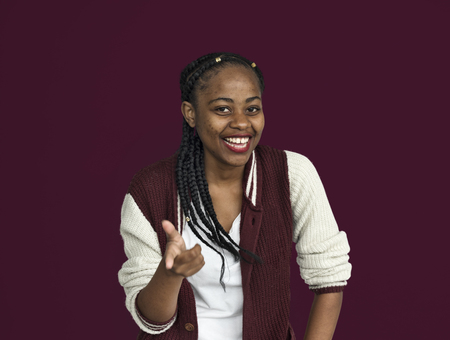 Young black girl cheerful hand gesture portrait