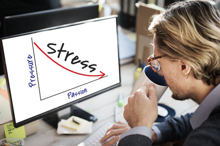 Businessman at work with pressure and stress concept