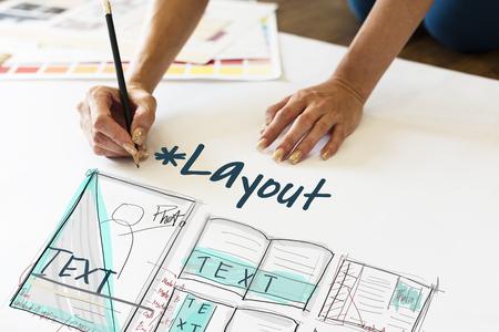 electronic publishing: E-book layout design draft graphic