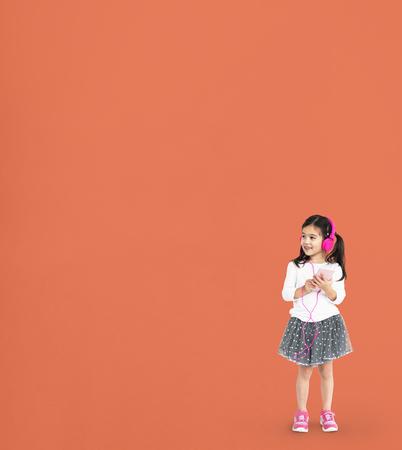 Little Girl Listen Music Happy Smile Studio