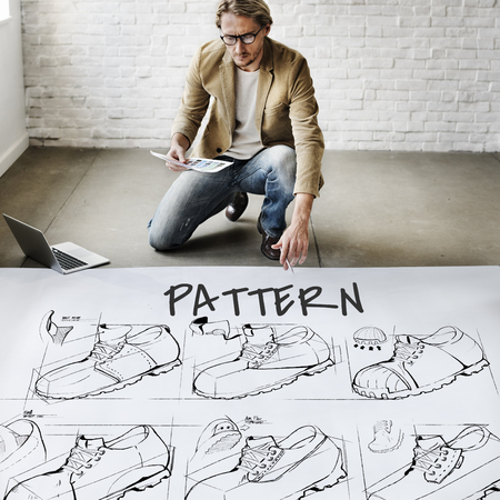 architect drawing: Shoe production procedure sketch drawing Stock Photo