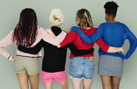 People Girlfriends Friendship Huddle Rear View Togetherness Stock Photo