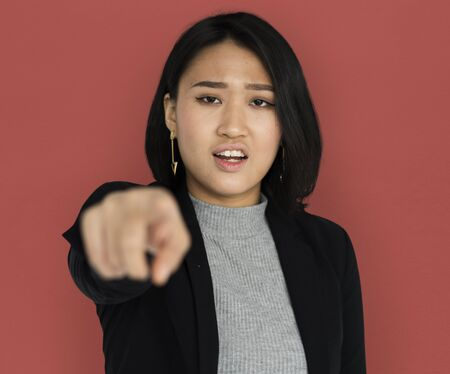 Young Asian Business Woman Pointing Angry Stock Photo
