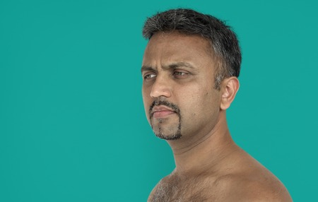 Men Candid Serious Thoughful Expression Studio