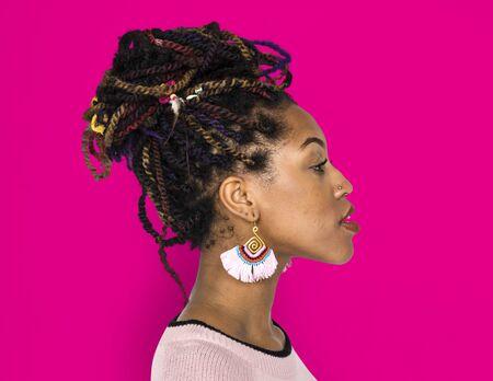 rastas: Woman Portrait Studio Shoot Casual Foto de archivo