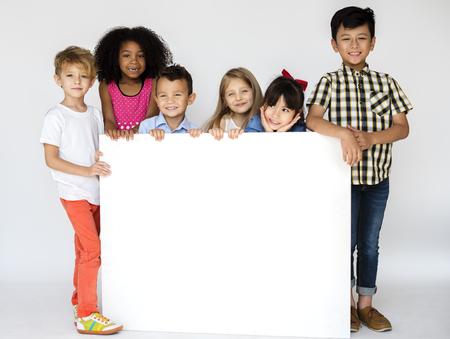 Diversity Children Showing Banner Board