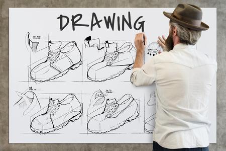 Shoe production procedure sketch drawing Banco de Imagens