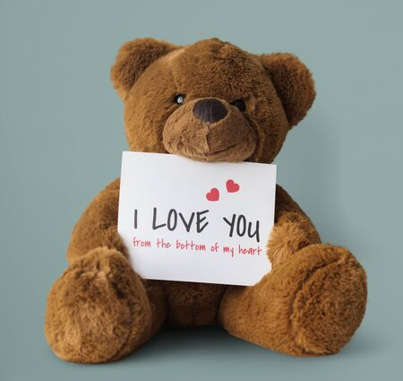 plushie: Teddy Bear Toy Present Gift Note Stock Photo