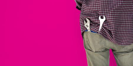 Man Wrench Tools Plaid Shirt Jeans Studio