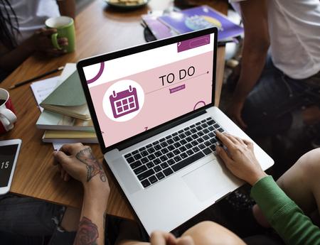 asian man laptop: Illustration of personal organizer reminder calendar on laptop