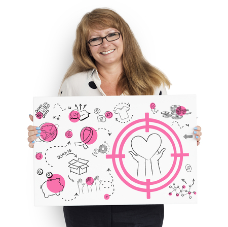 Cheerful woman showing a placard with donation concept
