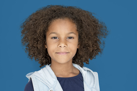 Portrait of a Little Afcrican Descent Girl Isolated