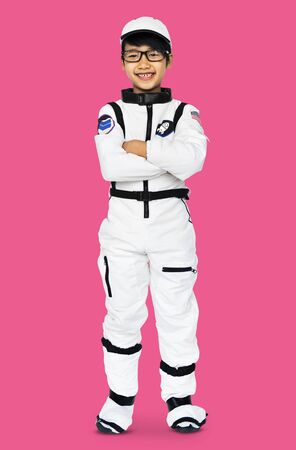 Young Boy in Astronaut Costume Studio Portrait