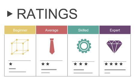 Kwaliteitsbeoordeling waarderingen ster graphic Stockfoto - 76167025