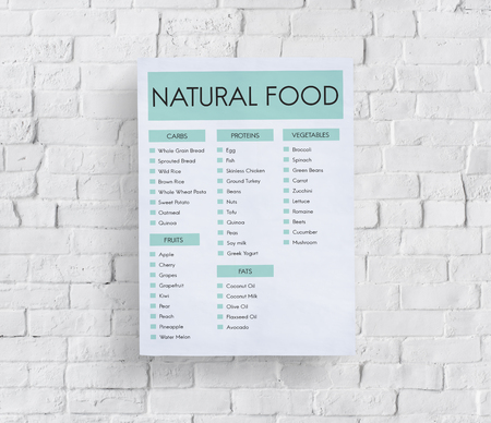 Poster on wall with natural food concept