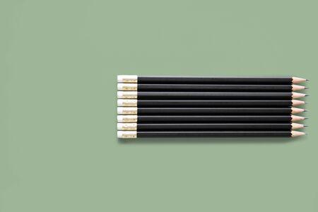 Black Sharp Wooden Pencils Studio Isolated