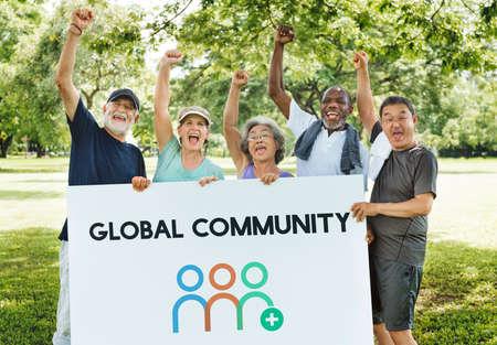 지역 사회 협력 기업 사람들 그래픽 단어 스톡 콘텐츠