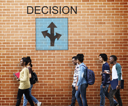 College students with decision concept Stock Photo
