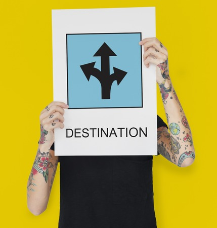 Woman with tattoos on hands and destination concept Stock Photo
