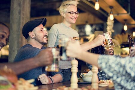 drinks after work: People Enjoy Food Drinks Party Restaurant Stock Photo