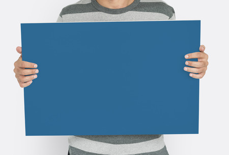 Man Holding Banner Placard Copy Space Blank