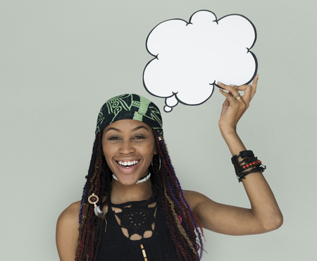 African Descent Woman holding Speech Bubble