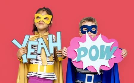 Little Kids Superhero Yeah Pow Papercrafts Stock Photo