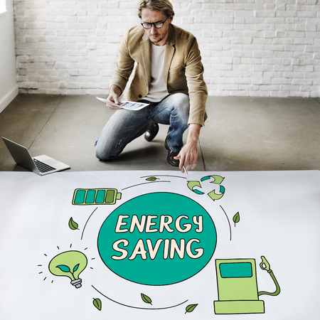 architect drawing: Eco Energy Saving Environmental Conservation Ecology Concept Stock Photo