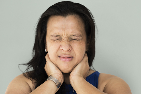 Woman feel really neck pain and muscle