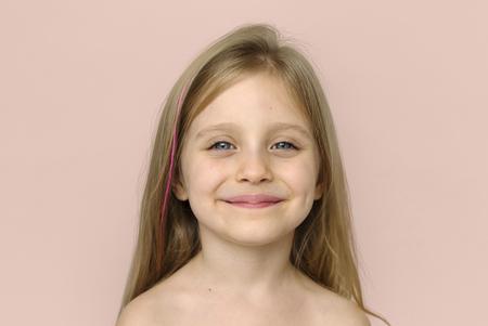 Meisje Glimlachend Geluk Kale Borst Topless Studio Portret Stockfoto