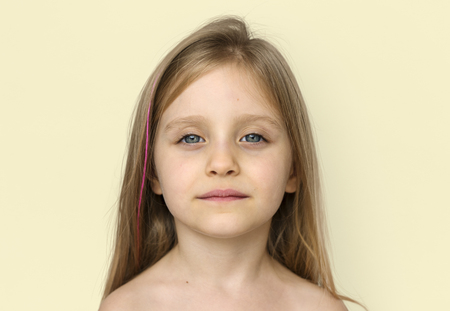 Little Girl Bare Chest Topless Studio Portrait