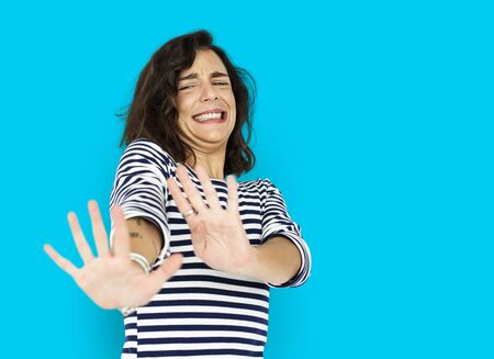 Woman Scared Nasty Face Expression Stock Photo