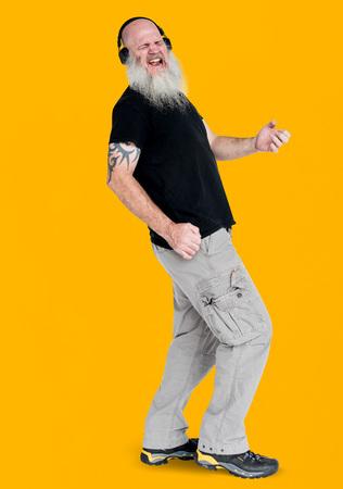 Bearded rocker guy playing air guitar portrait Stock Photo