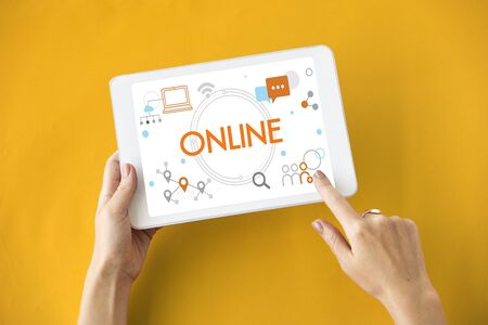 media gadget: Communication Networking Connection Online Stock Photo