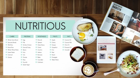Food list with nutritious concept Stock Photo