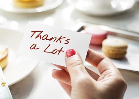post it: Thanks Lot Word Grateful Handwritten Concept
