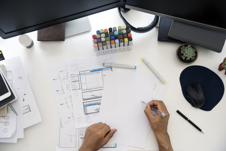 mouse: Man Working Planning Documents Diagram White Table Stock Photo