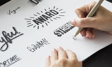 Woman Drawing Illustartion Pad Paper Palette Font Design Words