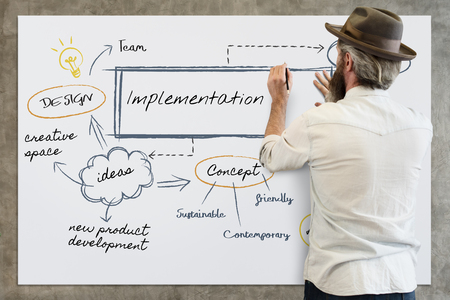Man drawing a chart with implementation concept