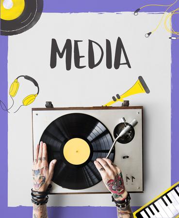 デジタル メディア音楽のストリーミング オーディオのレジャー 写真素材