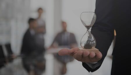 Business Man Hour Glass Time Stock Photo