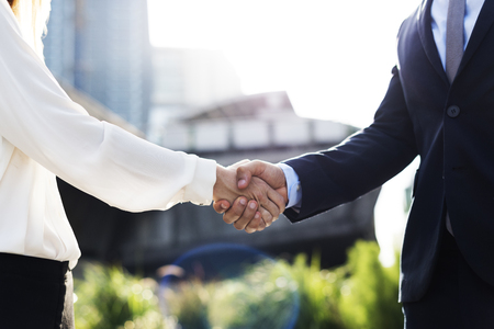 Men Women Business Agreement Hands Shake