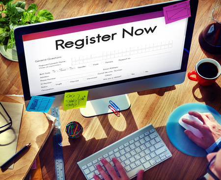 Register Now Application Information Concept Stock Photo