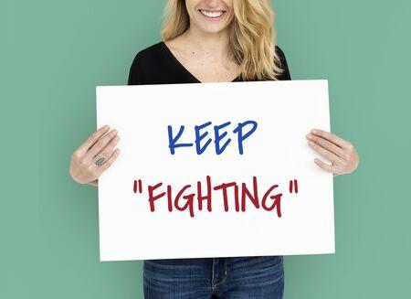 動機の単語メッセージを戦い続ける 写真素材 - 76307821