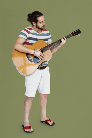 Man Playing Guitar Music Instrument Entertainment Stock Photo