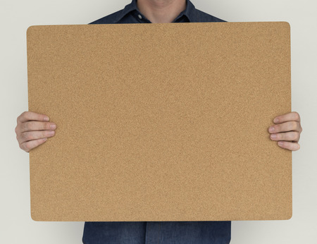 Man Holding Cork Board Copy Space Concept Stock Photo